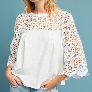 Anthropologie Marigold Lace Top